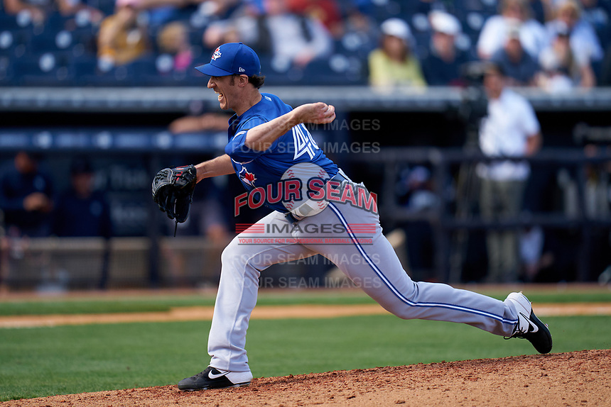 Toronto Blue Jays pitcher Brian Moran (48) during a Spring Training game against the New York Yankees on February 22, 2020 at the George M. Steinbrenner Field in Tampa, Florida.  (Mike Janes/Four Seam Images)