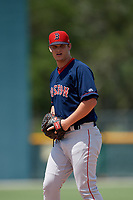 GCL Red Sox starting pitcher Brock Bell (49) during a Gulf Coast League game against the GCL Pirates on August 1, 2019 at Pirate City in Bradenton, Florida.  GCL Red Sox defeated the GCL Pirates 11-3.  (Mike Janes/Four Seam Images)