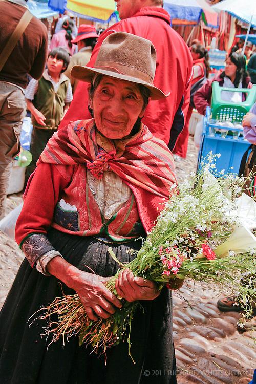 A Peruvian woman at the Pisca market.
