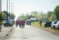 Team Lotto-Belisol approaching<br /> <br /> 2014 Paris-Roubaix reconnaissance