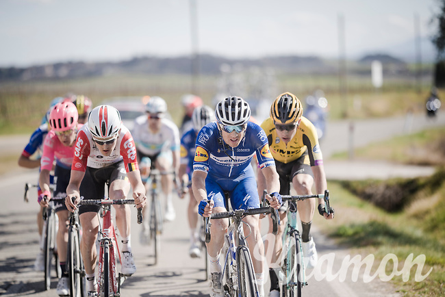 Tiesj Benoot (BEL/Lotto-Soudal) & Zdeněk ŠTYBAR (CZE/Deceuninck-Quick Step) setting a pace for the favorites group<br /> <br /> 13th Strade Bianche 2019 (1.UWT)<br /> One day race from Siena to Siena (184km)<br /> <br /> ©kramon