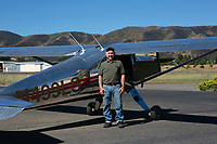 Pilot Miles Turner with his N499LS, a Luscombe Sliverair model LSA-8, Lampson Field airport (1O2), Lakeport, Lake County, California