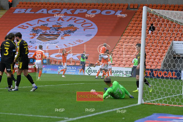 09/05/2021 Sky Bet League 1 Blackpool v Bristol Rovers  <br /> <br /> Ellis Simms celebrates after scoring for Blackpool