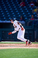 Oregon State Beavers Ryan Ober (18) runs to first base during an NCAA game against the New Mexico Lobos at Surprise Stadium on February 14, 2020 in Surprise, Arizona. (Zachary Lucy / Four Seam Images)
