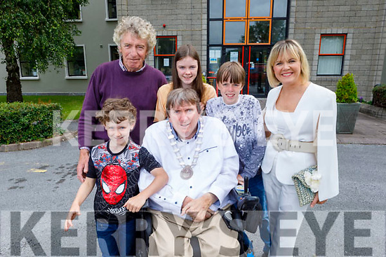Cllr Terry O'Brien, the new Mayor of the Tralee Municipal District pictured with his wife Theresa and children twins Millie and Mark, brother Tomo and nephew Donnchadh O'Regan at the ceremony at the County Council Chambers on Thursday.