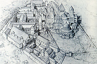 Cluny: The Abbey in 1157; church on right, infirmary buildings in foreground, cloister area beyond. Kostof, A HISTORY OF ARCHITECTURE, P. 324. Reference only.