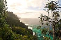Scenic view of Napali Coast from Kalalau Trail, Northshore, Kauai, Hawaii