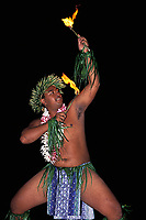 Tahitian fire dancer at hotel feast, Moorea, Society Islands, French Polynesia, (South Pacific Ocean)