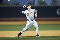 Illinois Fighting Illini third baseman Cam McDonald (29) makes a throw to first base against the Wake Forest Demon Deacons at David F. Couch Ballpark on February 16, 2019 in  Winston-Salem, North Carolina.  The Fighting Illini defeated the Demon Deacons 5-2. (Brian Westerholt/Four Seam Images)