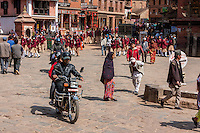 Bhaktapur, Nepal.  Students in Taumadhi Tol Square.