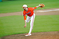 Carter Raffield (27) of the Clemson Tigers delivers a pitch in a fall Orange-Purple intrasquad scrimmage on Friday, November 13, 2020, at Doug Kingsmore Stadium in Clemson, South Carolina. (Tom Priddy/Four Seam Images)