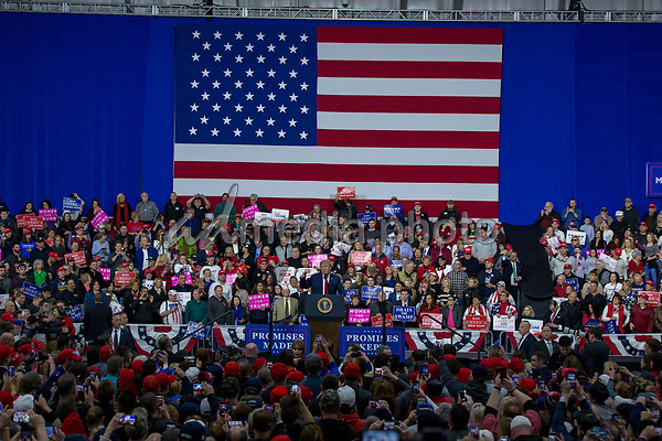United States President Donald J. Trump speaks during a Make America Great Again campaign rally at Atlantic Aviation in Moon Township, Pennsylvania on March 10th, 2018. Photo Credit: Alex Edelman/CNP/AdMedia