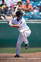 San Jose Giants catcher Tanner Murphy (48) at bat during a California League game against the Lancaster JetHawks at San Jose Municipal Stadium on May 13, 2018 in San Jose, California. San Jose defeated Lancaster 3-0. (Zachary Lucy/Four Seam Images)