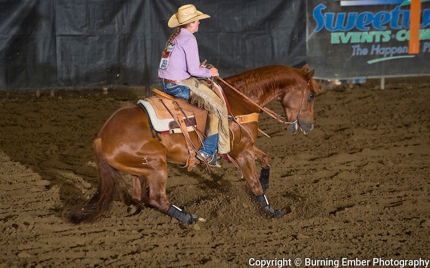 Peyton Kottwitz in the Reined Cow Horse event at the Wyoming State High School Finals Rodeo in Rock Springs Wyoming.  Photo by Josh Homer/Burning Ember Photography.  Photo credit must be given on all uses.