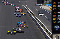 30th May 2021, Indianapolis, Indiana, USA;  NTT Indy Car Series driver Colton Herta (26) leads the field down the front straightaway during the 105th running of the Indianapolis 500 on May 30, 2021 at the Indianapolis Motor Speedway in Indianapolis, Indiana.