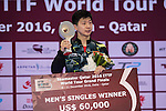 Long Ma of China after winning the Men's Singles Final match during the Seamaster Qatar 2016 ITTF World Tour Grand Finals at the Ali Bin Hamad Al Attiya Arena on 11 December 2016, in Doha, Qatar. Photo by Victor Fraile / Power Sport Images