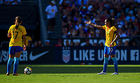 San Diego, CA - Sunday July 30, 2017: Andressinha, Marta during a 2017 Tournament of Nations match between the women's national teams of the United States (USA) and Brazil (BRA) at Qualcomm Stadium.