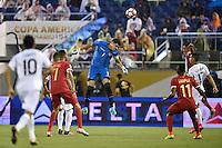 Orlando, FL - Monday June 06, 2016: Bolivia goalkeeper Carlos Lampe (1) during a Copa America Centenario Group D match between Panama (PAN) and Bolivia (BOL) at Camping World Stadium.