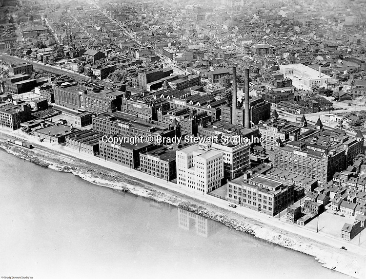 Pittsburgh PA:  View of the North Side of Pittsburgh and the HJ Heinz Plant. Photo retouching was alive and well during the 1930s as you can see with the reflection of Heinz's new building in the Allegheny River.
