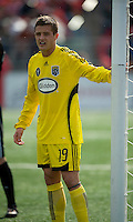 02 May 2009: Columbus Crew midfielder/forward Robbie Rogers #19 guards the post at BMO Field in a game between the Columbus Crew and Toronto FC. .The game ended in a 1-1 draw.