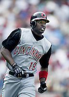 Reggie Taylor of the Cincinnati Reds runs the bases during a 2002 MLB season game against the Los Angeles Angels at Angel Stadium, in Anaheim, California. (Larry Goren/Four Seam Images)