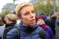 October 29 2017, Paris, France. Demonstration about Violence against Women. The Political woman Clementine Autain was present to support the protesters.   # MANIFESTATION CONTRE LES VIOLENCES FAITES AUX FEMMES A PARIS