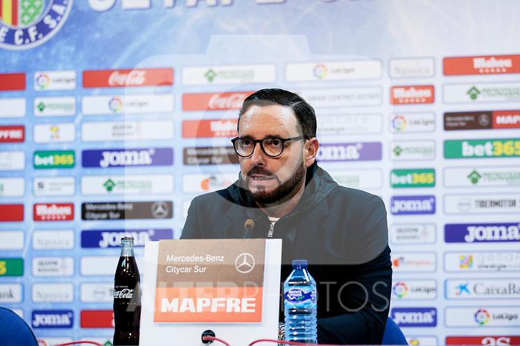Getafe CF's coach Jose Bordalas during the press conference before La Liga match between Getafe CF and Valencia CF at Coliseum Alfonso Perez in Getafe, Spain. November 10, 2018.