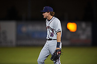 Lancaster JetHawks first baseman Tyler Nevin (16) during a California League game against the Inland Empire 66ers at San Manuel Stadium on May 18, 2018 in San Bernardino, California. Lancaster defeated Inland Empire 5-3. (Zachary Lucy/Four Seam Images)