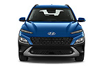 Car photography straight front view of a 2021 Hyundai Kona-Hybrid Sky 5 Door SUV Front View