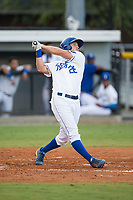 Reed Rohlman (26) of the Burlington Royals follows through on his swing against the Danville Braves at Burlington Athletic Stadium on August 15, 2017 in Burlington, North Carolina.  The Royals defeated the Braves 6-2.  (Brian Westerholt/Four Seam Images)