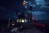 Sea Watch-2.<br /> Die Sea Watch-2 ist zu ihrer 13. SAR-Mission vor der libyschen Kueste.<br /> Im Bild: Die Bruecke der Sea Watch-2 bei Nacht.<br /> 18.10.2016, Mediterranean Sea<br /> Copyright: Christian-Ditsch.de<br /> [Inhaltsveraendernde Manipulation des Fotos nur nach ausdruecklicher Genehmigung des Fotografen. Vereinbarungen ueber Abtretung von Persoenlichkeitsrechten/Model Release der abgebildeten Person/Personen liegen nicht vor. NO MODEL RELEASE! Nur fuer Redaktionelle Zwecke. Don't publish without copyright Christian-Ditsch.de, Veroeffentlichung nur mit Fotografennennung, sowie gegen Honorar, MwSt. und Beleg. Konto: I N G - D i B a, IBAN DE58500105175400192269, BIC INGDDEFFXXX, Kontakt: post@christian-ditsch.de<br /> Bei der Bearbeitung der Dateiinformationen darf die Urheberkennzeichnung in den EXIF- und  IPTC-Daten nicht entfernt werden, diese sind in digitalen Medien nach §95c UrhG rechtlich geschuetzt. Der Urhebervermerk wird gemaess §13 UrhG verlangt.]