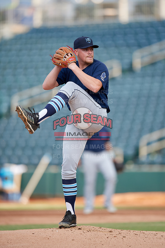 Mobile BayBears starting pitcher Jeremy Beasley (41) during a Southern League game against the Jacksonville Jumbo Shrimp on May 28, 2019 at Baseball Grounds of Jacksonville in Jacksonville, Florida.  Mobile defeated Jacksonville 2-1.  (Mike Janes/Four Seam Images)