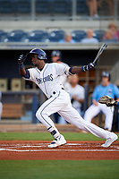 Charlotte Stone Crabs shortstop Lucius Fox (2) during a game against the Dunedin Blue Jays on June 5, 2018 at Charlotte Sports Park in Port Charlotte, Florida.  Dunedin defeated Charlotte 9-5.  (Mike Janes/Four Seam Images)