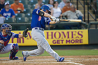 Oklahoma City Dodgers shortstop Corey Seager (18) swings the bat during the Pacific Coast League baseball game against the Round Rock Express on June 9, 2015 at the Dell Diamond in Round Rock, Texas. The Dodgers defeated the Express 6-3. (Andrew Woolley/Four Seam Images)