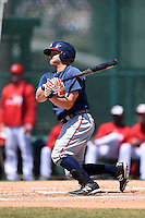 Atlanta Braves outfielder Will Skinner (19) during a minor league spring training game against the Washington Nationals on March 26, 2014 at Wide World of Sports in Orlando, Florida.  (Mike Janes/Four Seam Images)