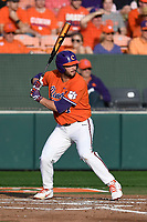 First baseman Chris Williams (27) of the Clemson Tigers bats in a game against the William and Mary Tribe on February 16, 2018, at Doug Kingsmore Stadium in Clemson, South Carolina. Clemson won, 5-4 in 10 innings. (Tom Priddy/Four Seam Images)