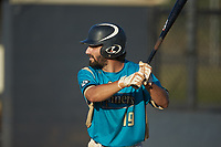 Wade Chandler (19) (UNC Asheville) of the Mooresville Spinners at bat against the Dry Pond Blue Sox at Moor Park on July 2, 2020 in Mooresville, NC.  The Spinners defeated the Blue Sox 9-4. (Brian Westerholt/Four Seam Images)