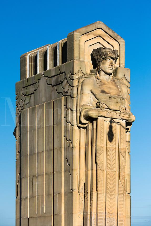 Guardians  of transportation statue on Hope Memorial Bridge, Cleveland, Ohio, USA.
