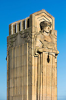 Guardians  of transportation statue on Hope Memorial Bridge, Cleveland, Ohio, USA.