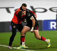 Sunday 22nd November 2020 | Ulster vs Scarlets<br /> <br /> Stewart Moore is congratulated by Ian Madigan after he scored Ulster's second try during the Guinness PRO14 Round 7 clash between Ulster Rugby and Scarlets at Kingspan Stadium, Ravenhill Park, Belfast, Northern Ireland. Photo by John Dickson / Dicksondigital