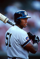 Bernie Williams of the New York Yankees during a game at Anaheim Stadium in Anaheim, California during the 1997 season.(Larry Goren/Four Seam Images)