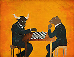 Anthropomorphic bear and bull playing chess game representing the concept of Bear vs. Bull market