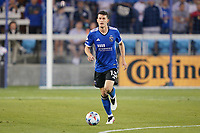 SAN JOSE, CA - JULY 24: Nathan Cardoso #13 of the San Jose Earthquakes during a game between Houston Dynamo and San Jose Earthquakes at PayPal Park on July 24, 2021 in San Jose, California.