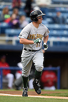 Lynchburg Hillcats third baseman Kevin Ahrens (17) during a game against the Salem Red Sox on April 25, 2014 at Lewisgale Field in Salem, Virginia.  Salem defeated Lynchburg 10-0.  (Mike Janes/Four Seam Images)
