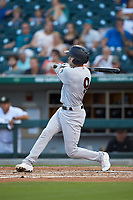 Tyler Wade (9) of the Scranton/Wilkes-Barre RailRiders follows through on his swing against the Charlotte Knights at BB&T BallPark on August 14, 2019 in Charlotte, North Carolina. The Knights defeated the RailRiders 13-12 in ten innings. (Brian Westerholt/Four Seam Images)