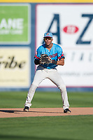 Spokane Indians third baseman Diosbel Arias (21) during a Northwest League game against the Vancouver Canadians at Avista Stadium on September 2, 2018 in Spokane, Washington. The Spokane Indians defeated the Vancouver Canadians by a score of 3-1. (Zachary Lucy/Four Seam Images)