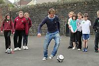Pictured: Joe Allen. Thursday 27 January 2011<br /> Re: Swansea City football player Joe Allen visiting Y Wern Welsh School in Ystalyfera, south Wales.