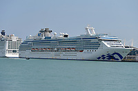 MIAMI BEACH, FL - APRIL 09: COVID-19: Barred from Miami hotels, 13 Coral Princess passengers will stay on ship for 14 more days on April 09, 2020 in Miami Beach, Florida<br /> <br /> People:  Coral Princess