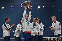 Gent, Belgium, November 29, 2015, Davis Cup Final, Belgium-Great Britain, day three, The Team of Great Britain celebrate winning the Davis Cup 2015.<br /> Photo: Tennisimages/Henk Koster