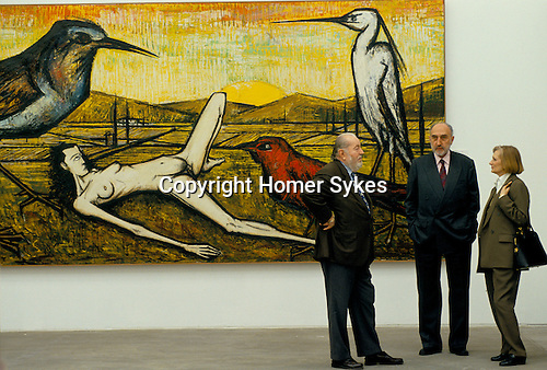 Bernard Buffet French artist expressionist painter (1928-1999) France Circa 1995. With long time agent Maurice Garnier and Mrs Garnier. One man exhibition  Kassal Germany 1994.